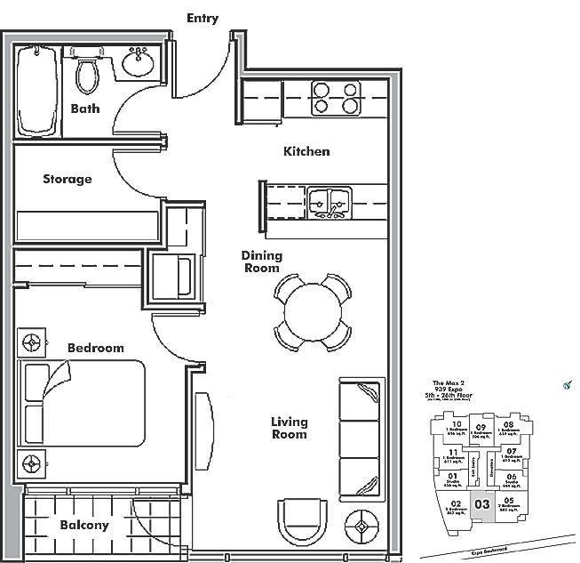 1503 928 BEATTY STREET, Vancouver, BC Floor Plan