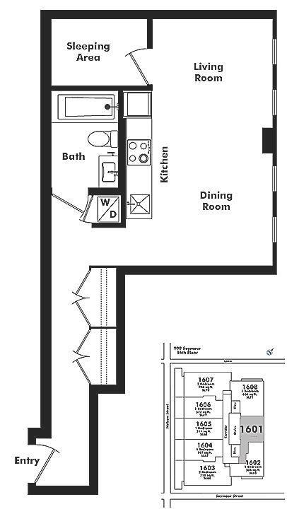 1601 999 SEYMOUR STREET, Vancouver, BC Floor Plan