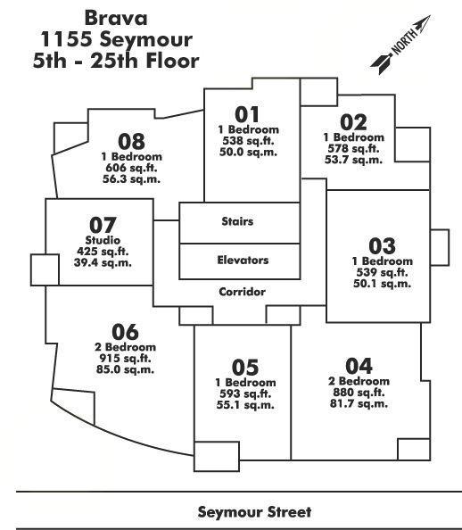 2408 1199 SEYMOUR STREET, Vancouver, BC Floor Plate