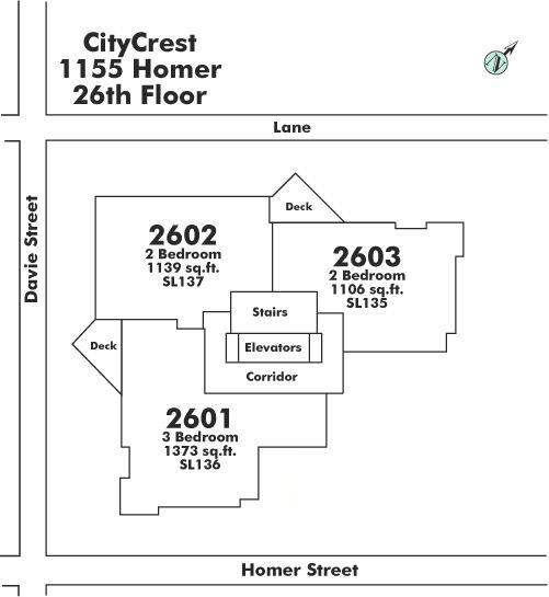 2603 1155 HOMER STREET, Vancouver, BC Floor Plate