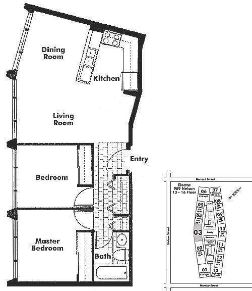 1403 989 NELSON STREET, Vancouver, BC Floor Plan