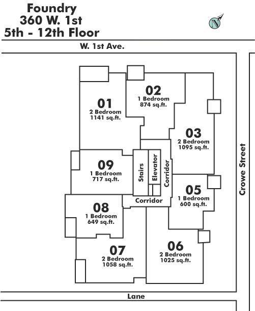 607 1833 CROWE STREET, Vancouver, BC Floor Plate