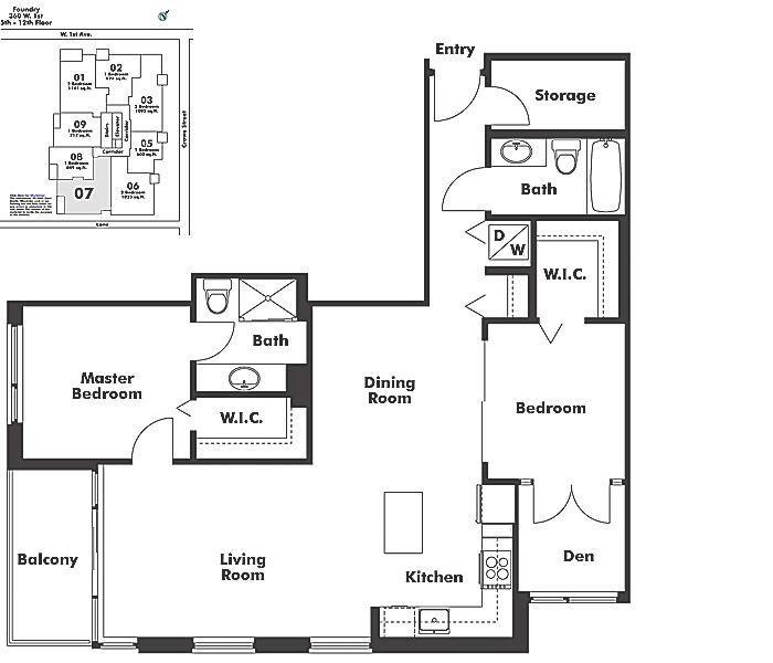 607 1833 CROWE STREET, Vancouver, BC Floor Plan