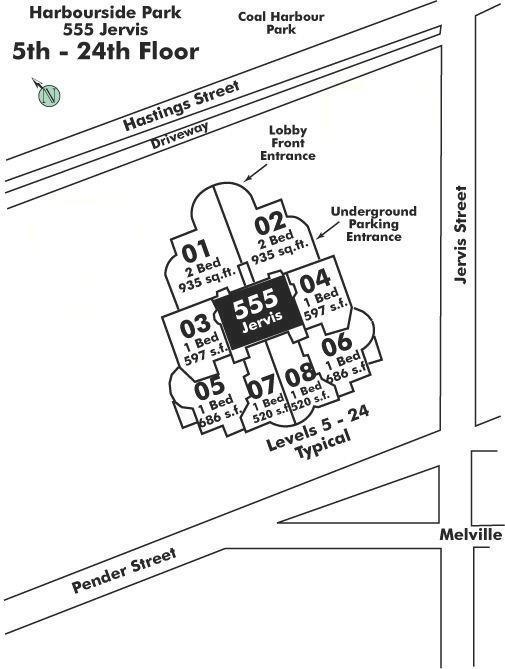 2403 588 BROUGHTON STREET, Vancouver, BC Floor Plate