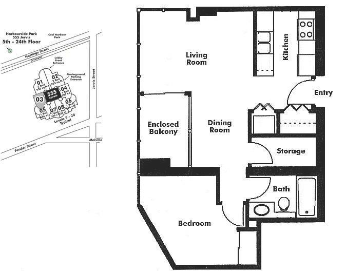 2403 588 BROUGHTON STREET, Vancouver, BC Floor Plan