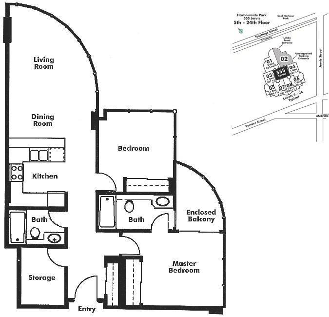 702 588 BROUGHTON STREET, Vancouver, BC Floor Plan